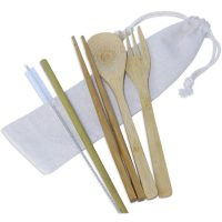 Stainless Steel Cutlery Set with Straw in Fabric, Pouch